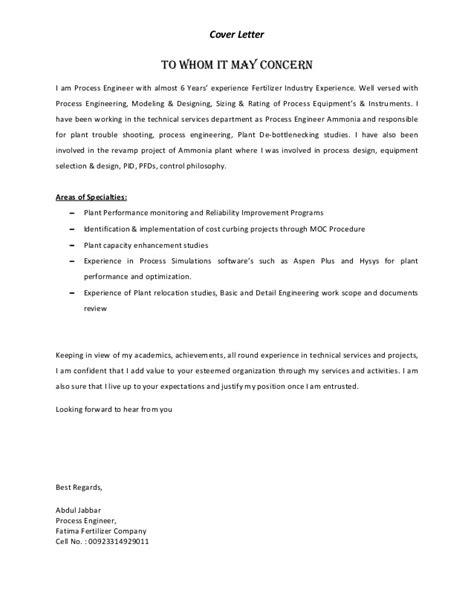 cover letter for process engineer process engineer resume