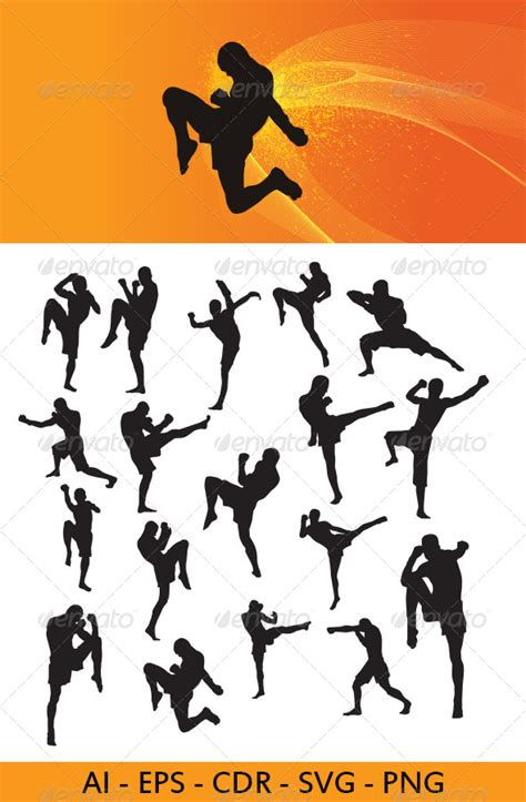 muay thai martial art silhouettes graphicriver
