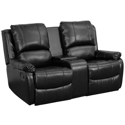 Cinema Recliners by Series 2 Seat Reclining Pillow Back Black Leather Theater Seating Unit With Cup Holders