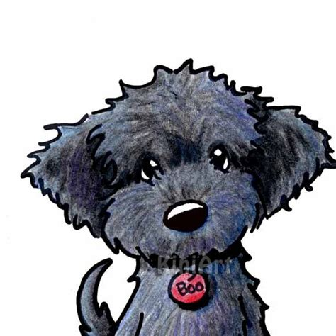 doodle dogs drawing black labradoodle original aceo drawing by kiniart