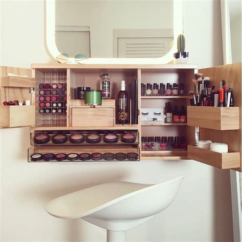 wall mounted makeup organizer petagadget