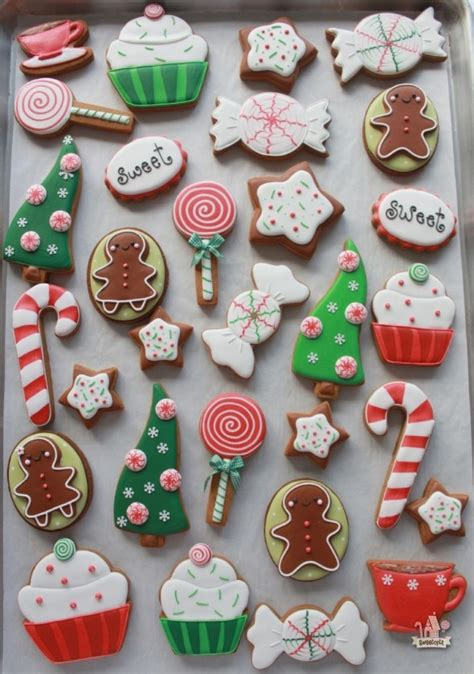red and green cute candy cutout cookies with royal