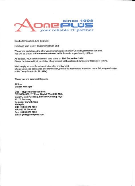Offer Letter For Joining Offer Letter For Internship Malaysia Docoments Ojazlink