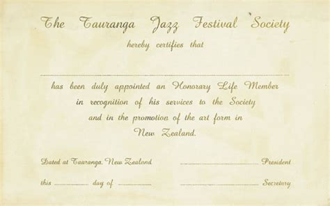 honorary life member sle certificate of tauranga jazz