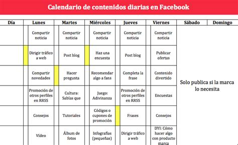 Ejemplos De Calendarios Plantilla Calendario De Contenidos Y Tareas Para