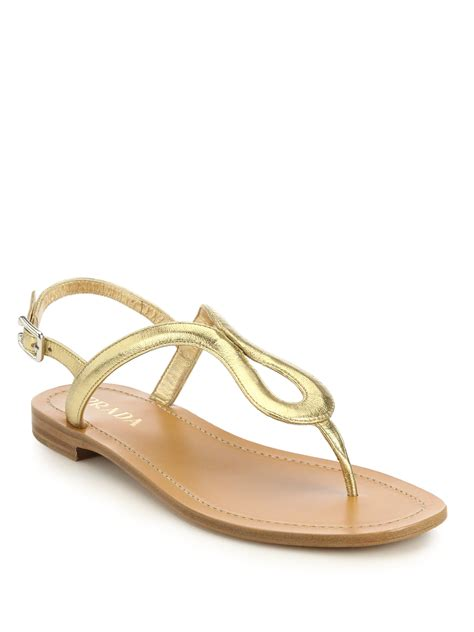 gold metallic sandals prada metallic leather sandals in metallic lyst