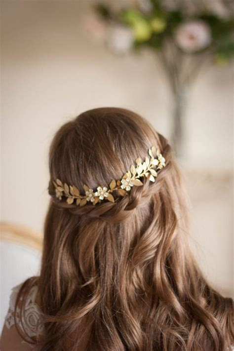 Hiasan Rambut Headpiece 4 laurel leaf flower vine gold leaf comb gold leaf headpiece flower leaf vine bridal headpiece