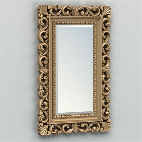 mirror image free 3d carved rectangle mirror frame model