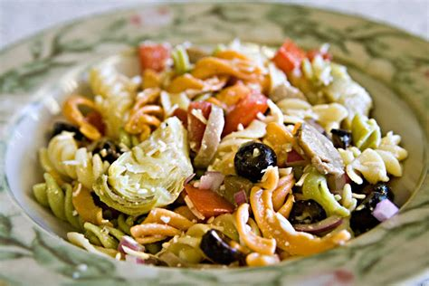 cold pasta salad with italian dressing pasta salad sprinkled with love