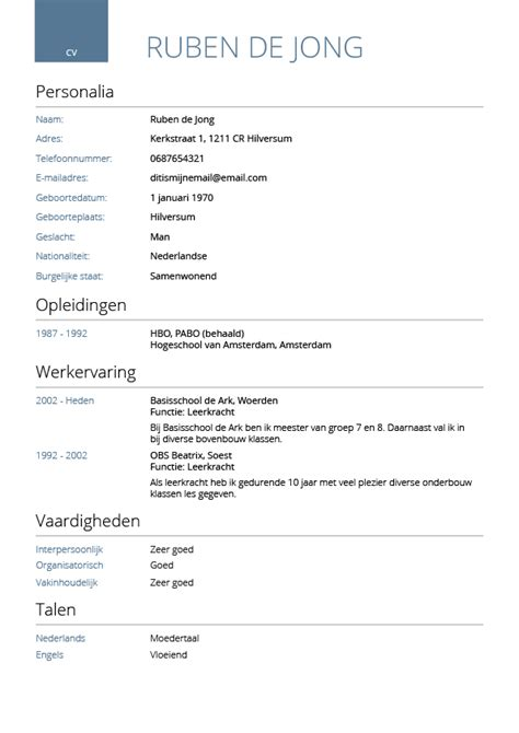 Cv Template Vdab Cv Maken In 3 Stappen Je Curriculum Vitae Downloaden Cv Wizard
