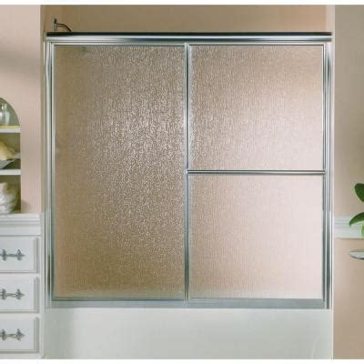 Textured Glass Shower Doors Sterling Deluxe 59 3 8 In X 56 1 4 In Framed Sliding Tub Door In Silver With Glass