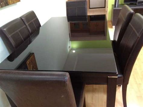 Black Tempered Glass Dining Table V Hive Dining Table With 6 Chairs Tempered Black Glass On Top For Sale In Singapore Adpost