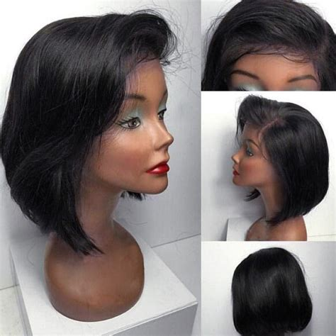 wigs short on one side long on the other natural black short straight bob side part lace front