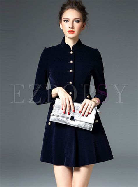 Velvet Sleeve Collar Dress stylish quilt velvet stand collar sleeve skater dress