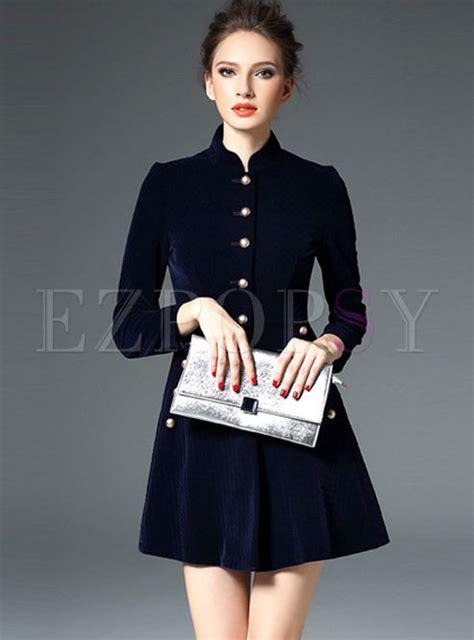 Velvet Sleeve Collar Dress stylish quilt velvet stand collar sleeve skater dress
