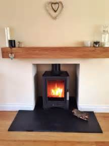 wood burning stove oak beam slate hearth scottish home