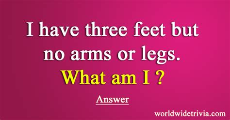 boat crash riddle riddle i have three feet but no arms or legs