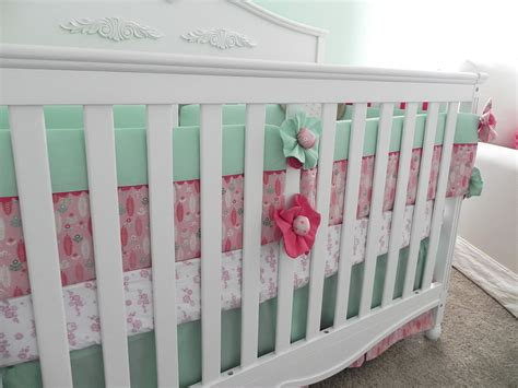 Mia S Mint Green Coral Botanical Nature Nursery Mint Green Crib Bedding
