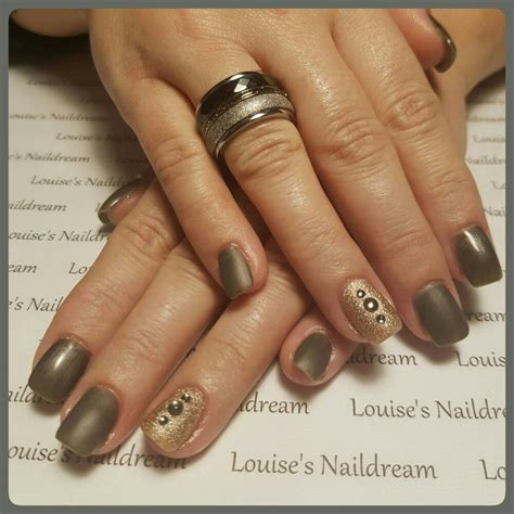 Glitter Acrylnagels by Acrylnagels Gellak Antraciet Glans Mat Glitters Steentjes