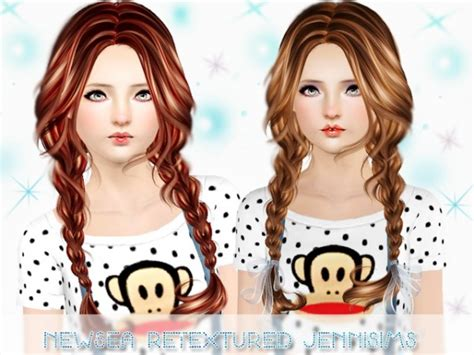 hair braids sims 3 double braid hairstyle newsea clover retextured by jenni