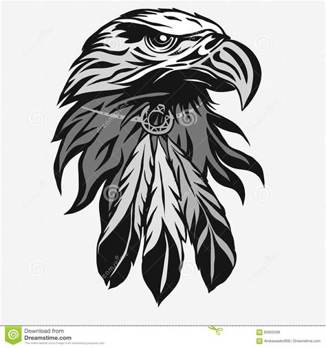 eagle head with tribal feathers vector stock vector
