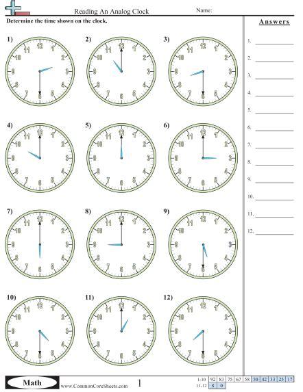 clock reading worksheets davezan