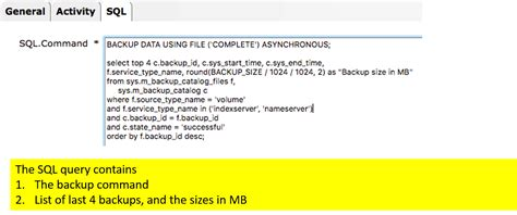sql query notification tutorial sap basis automation of hana backup and cleanup