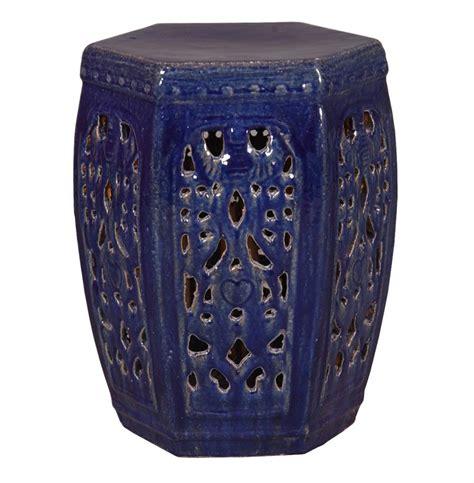 hexagon pierced ceramic garden stool navy blue glaze