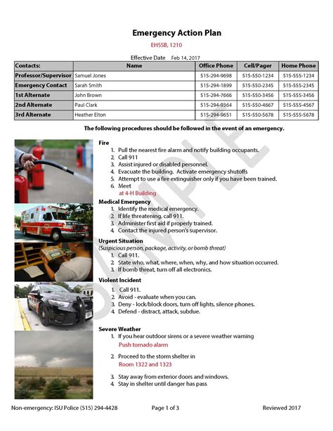 emergency action plans environmental health  safety iowa state university