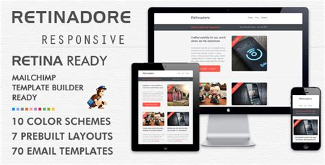 Retinadore Responsive Email Newsletter Template By Bedros Themeforest How To Send A Template In Mailchimp