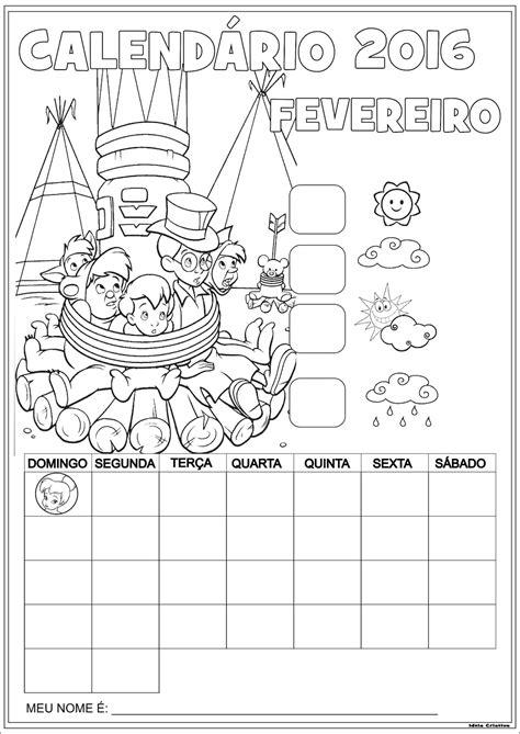 Calendario Con Las Semanas Aã O 2016 Calend 225 Rios Escolares Pan 2016 Para Colorir Sem