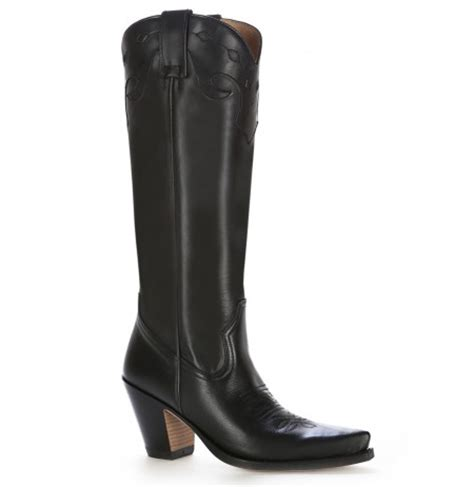 Heel Boot Coboy Black Sepatu Heels Sepatu Coboy Boot Coboy Hitam classic black leather high heel cowboy boots luxurious leather cowboy boots