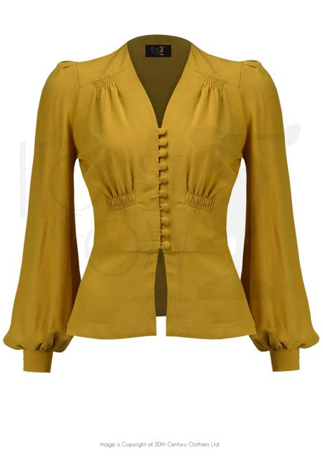 Blouse By Elsire 1930s style elsie button blouse mustard crepe
