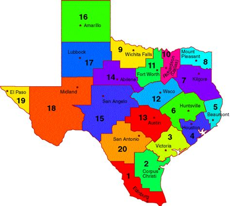 texas map of regions snapshot 2014 esc region