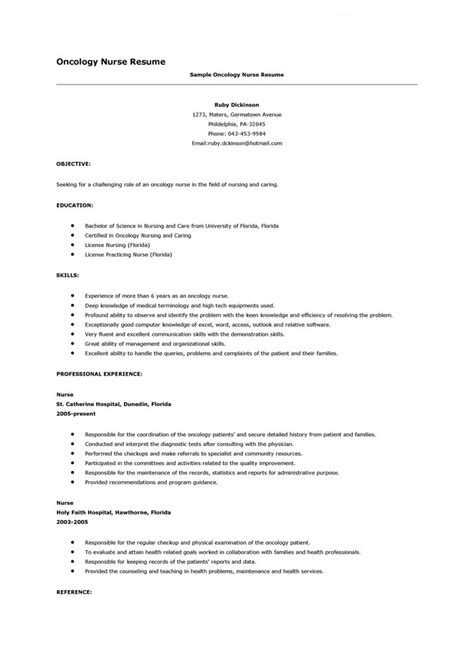 Oncology Resume oncology resume sle free resume sle