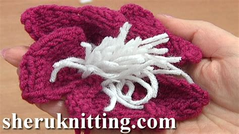 knitted flower pattern youtube knitted flower with stamens tutorial 9 knitting flowers