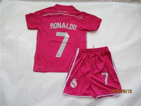 Yx Mukena Kid Pink Jersey cristiano ronaldo 7 r madrid jersey sets away pink soccer jerseys youth kits shirts