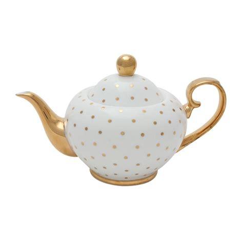 Teapot Melamin Golden miss golightly teapot white with gold spots tea sets