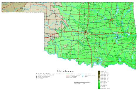 altitude map of usa large detailed elevation map of oklahoma state with roads