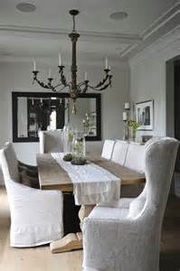 White Slipcovered Dining Chairs Square Dining Table Cottage Kitchen Ohara Davies Gaetano