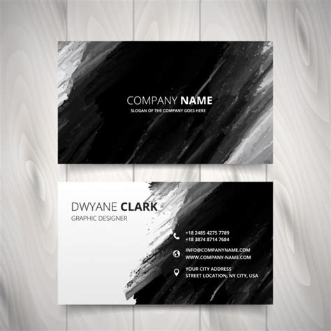 black business card template vector black watercolor business card vector free