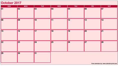 Calendar 2017 October 9 Calendar For October 2017 2017 Calendar Printable