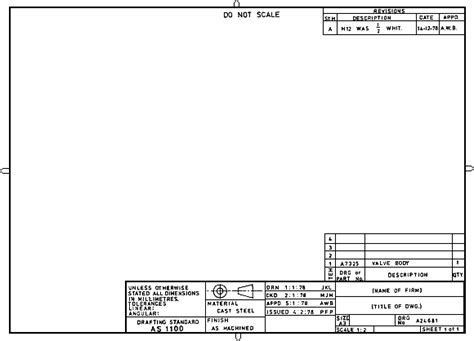 mechanical drawing template metrics in drafting drawing sheet layout