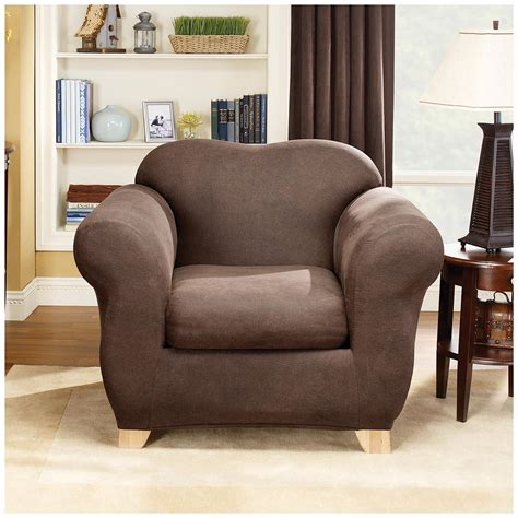 leather recliner slipcover sure fit 174 stretch leather 2 pc chair slipcover 581247