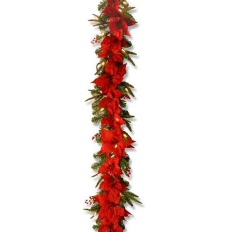 National Tree Company 6 Ft Poinsettia Garland With 30 Poinsettia Tree Lights