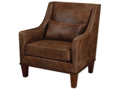 uttermost clay leather accent chair ut23030