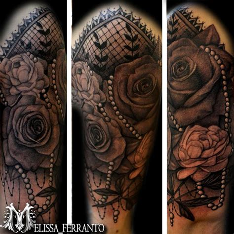 pearl tattoo peony pearls and lace by ferranto