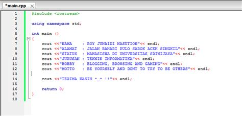 membuat html biodata sederhana membuat biodata diri sederhana dengan bahasa pemrograman c