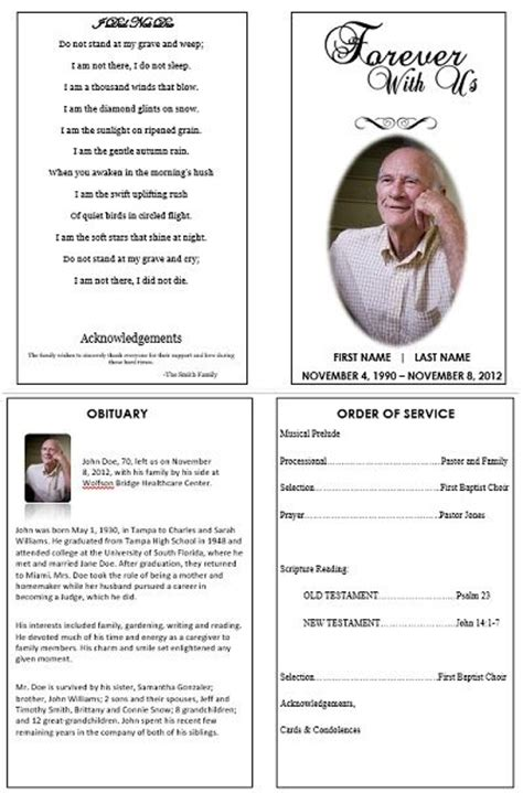 memorial order of service template 1000 images about printable funeral program templates on