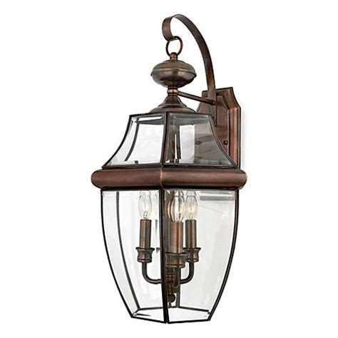 Outdoor Copper Light Fixtures Buy Quoizel 174 Newbury 3 Light Outdoor Fixture With Aged Copper Finish And Beveled Glass From Bed